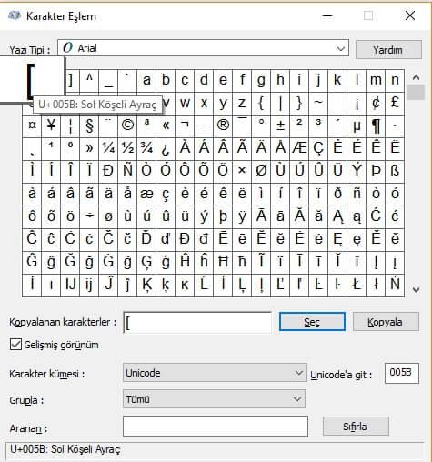 Klavyede Köşeli parantez nasıl yapılır