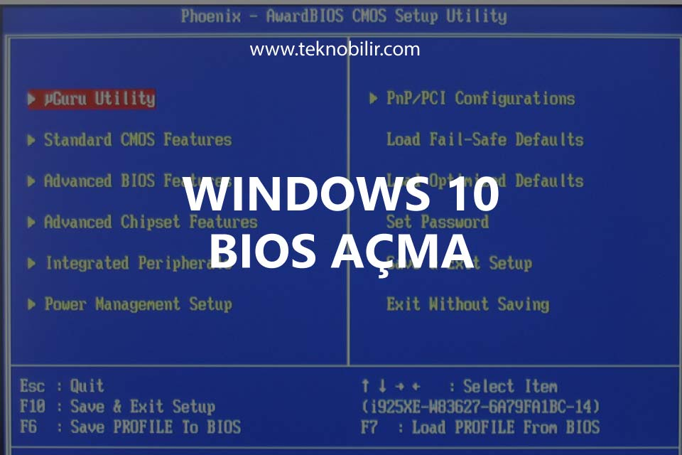 Windows 10 BIOS Açma