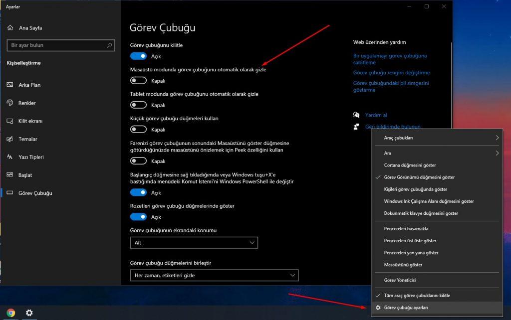 Windows 10 Görev Çubuğu Gizleme